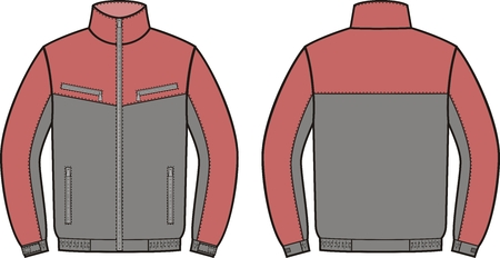 by the collar: Vector illustration of work jacket. Front and back views