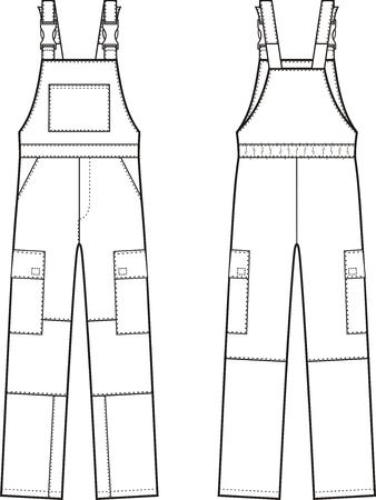 Illustrazione vettoriale di tute da lavoro con bretelle. vista anteriore e posteriore Vettoriali