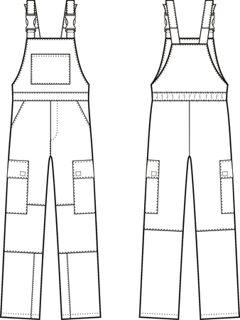 Vector illustration of work overalls with braces. Front and back views Stock Illustratie