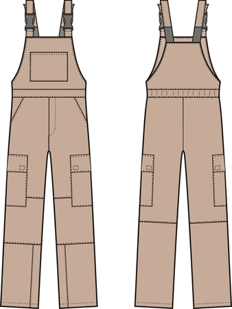 Vector illustration of work overalls with braces. Front and back views Illustration