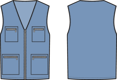 waistcoat: Vector illustration of work waistcoat. Front and back views