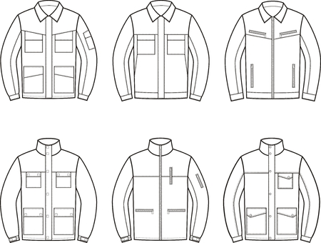 Vector illustration. Set of work jacket. Different models 일러스트