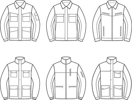 Vector illustration. Set of work jacket. Different models Stock Illustratie