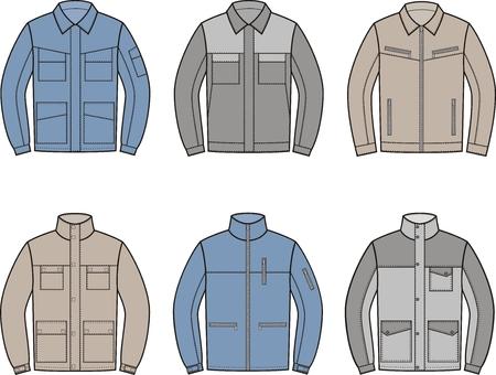 pocket size: Vector illustration. Set of work jacket. Different models Illustration