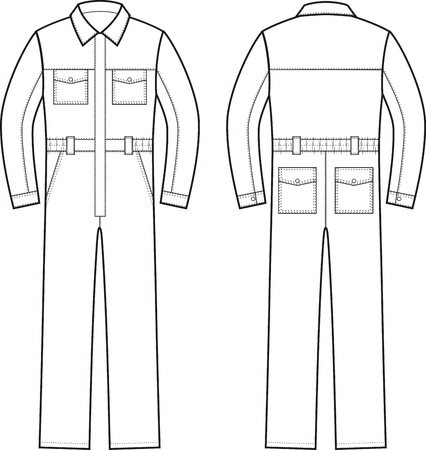 Vector illustration of work overalls. Front an Vettoriali