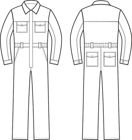 Vector illustration des combinaisons de travail. Devant une Vecteurs