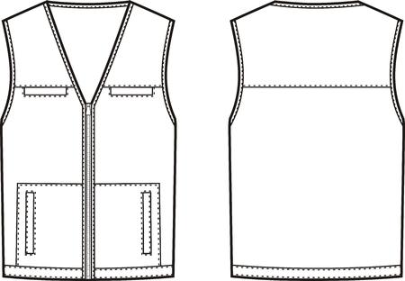 Ilustración del vector del chaleco de trabajo. vistas frontal y posterior