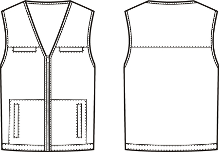 Vector illustration of work waistcoat. Front and back views