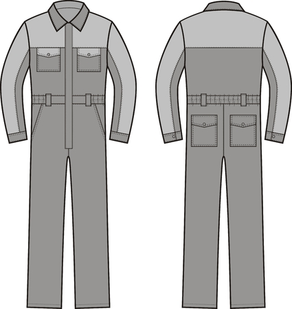 overalls: Vector illustration of work overalls. Front an Illustration