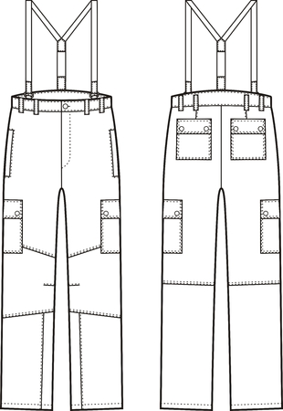 back belt: Vector illustration of work pants with braces. Front and back views