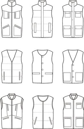 Vector illustration. Set of winter work waistcoat