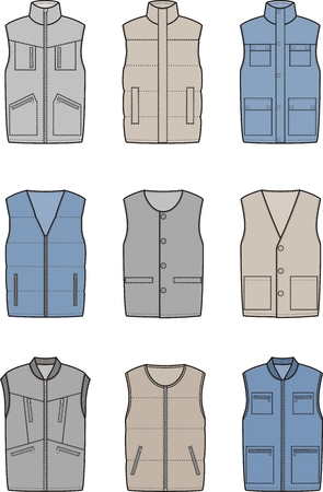 pocket size: Vector illustration. Set of winter work waistcoat