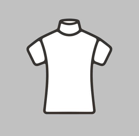 woman white shirt: Vector illustration of short sleeve turtleneck icon