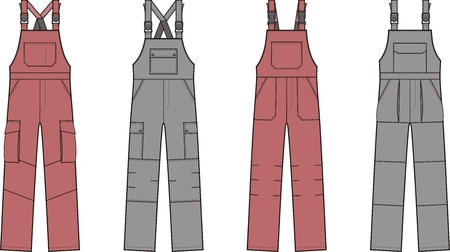 illustrazione vettoriale di tute da lavoro con bretelle