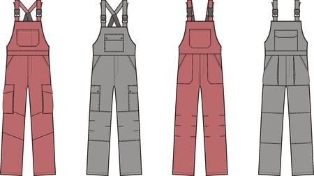 suspender: Vector illustration of work overalls with braces Illustration