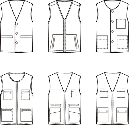 pocket size: Vector illustration. Set of work waistcoat. Different models Illustration