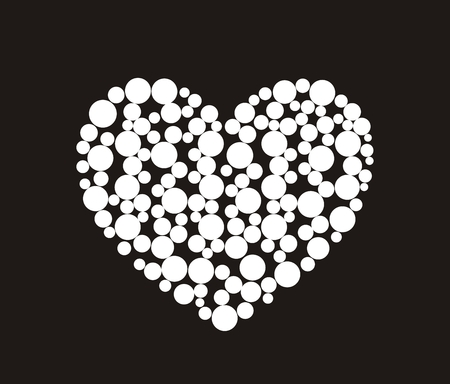 graphic pattern: Vector illustration of abstract heart with circles