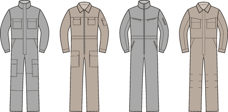 clothing store: Vector illustration. Set of work overalls. Different models Illustration