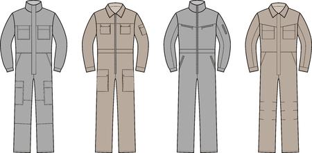 garments: Vector illustration. Set of work overalls. Different models Illustration