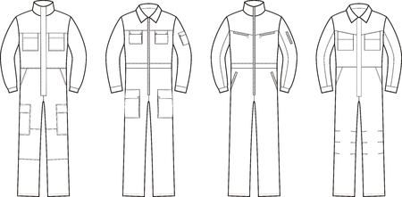 Vector illustration. Set of work overalls. Different models Illustration
