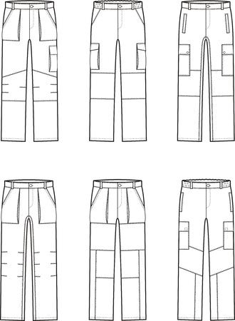pocket size: Vector illustration. Set of work pants. Different models