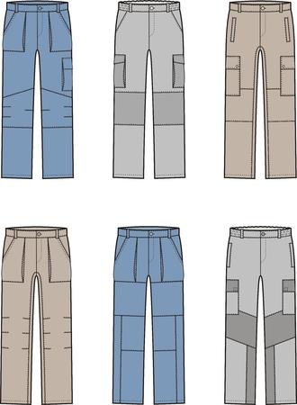 Vector illustration. Set of work pants. Different models