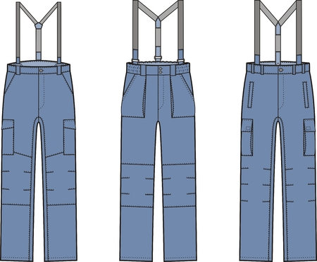 suspender: Vector illustration of work pants with braces