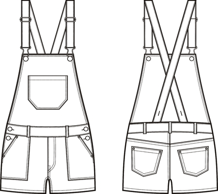 garment: Vector illustration of denim coverall. Front and back views Illustration