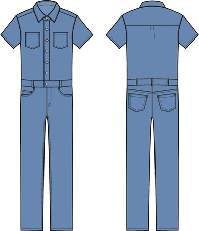 coverall: Vector illustration of mens denim coverall. Front and back views