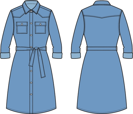 pocket size: Vector illustration of womens jean dress. Front and back. Clothes in denim style Illustration