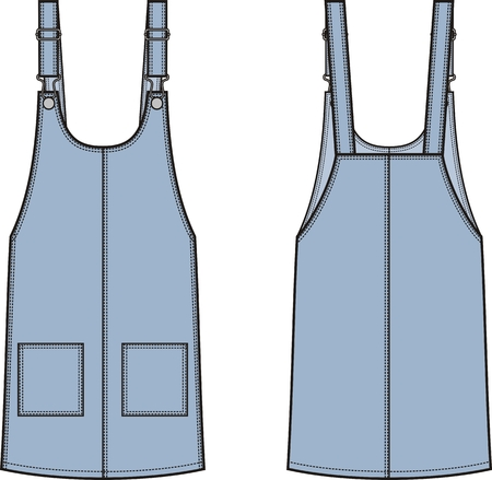 suspender: Vector illustration of womens jean overall dress. Front and back. Clothes in denim style