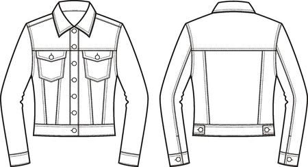 Illustrazione vettoriale della giacca di jeans da donna. Davanti e dietro. Vestiti in stile denim Vettoriali