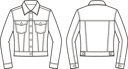 pocket size: Vector illustration of womens jean jacket. Front and back. Clothes in denim style