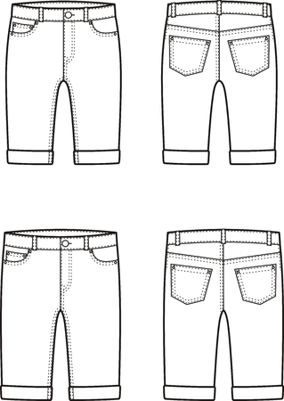 back belt: Vector illustration of mens and womens denim breeches. Front and back views Illustration