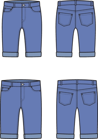 breeches: Vector illustration of mens and womens denim breeches. Front and back views Illustration