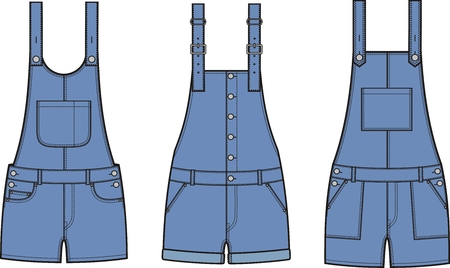 coverall: Vector illustration of denim coverall. Different models