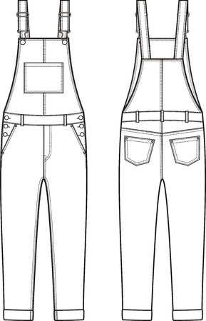 breeches: Vector illustration of denim coverall. Front and back views Illustration