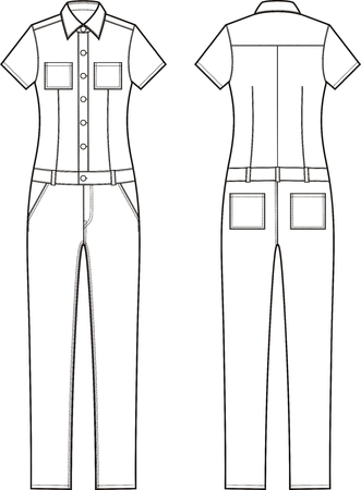 Vector illustration of womens denim coverall. Front and back views Çizim