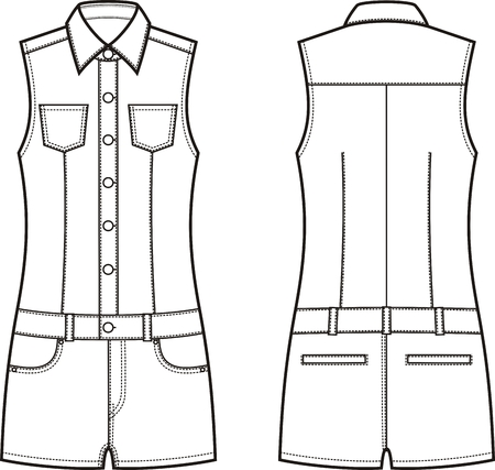garment: Vector illustration of womens denim coverall. Front and back views Illustration