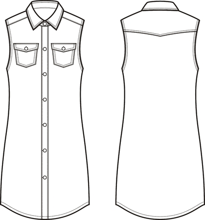 casual dress: Vector illustration of womens jean dress. Front and back. Clothes in denim style Illustration