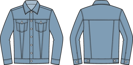 pocket size: Vector illustration of mens jean jacket. Front and back. Clothes in denim style Illustration