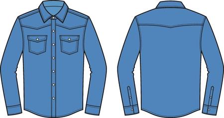 Ilustración vectorial de camisa de mezclilla de los hombres. Frente y detrás. Ropa en estilo denim. Ilustración de vector