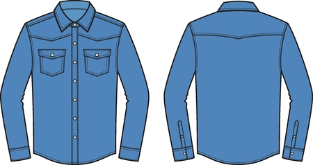 Vector illustration of men's jean shirt. Front and back. Clothes in denim style