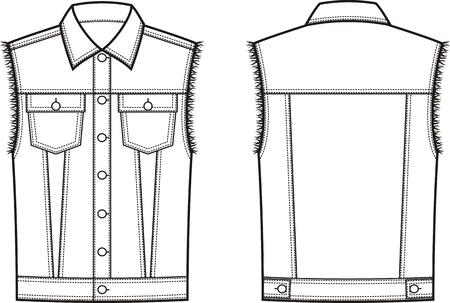 Ilustración vectorial de chaleco de mezclilla de los hombres. Frente y detrás. Ropa en estilo denim