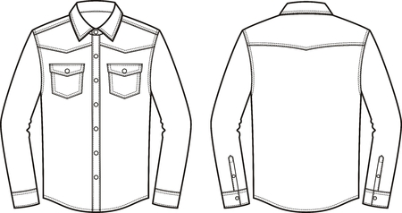 Vector illustration of mens jean shirt. Front and back. Clothes in denim style Illustration