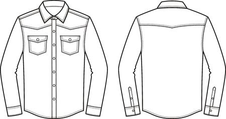 Vektor-Illustration der Männer Jeans-Shirt. Vorne und Hinten. Kleidung im Denim-Stil Standard-Bild - 72229140
