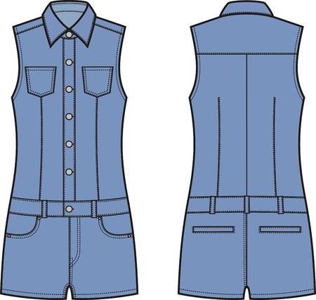 coverall: Vector illustration of womens denim coverall. Front and back views Illustration