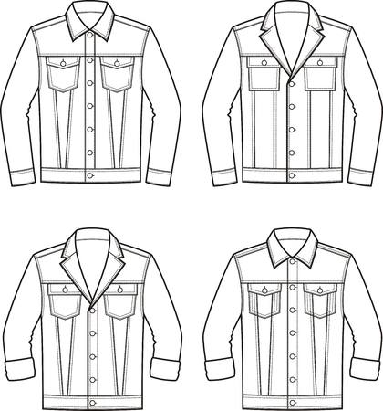 pocket size: Vector illustration of mens jean jacket. Clothes in denim style