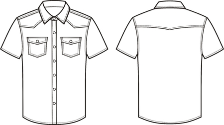 pocket size: Vector illustration of mens jean shirt. Front and back. Clothes in denim style Illustration