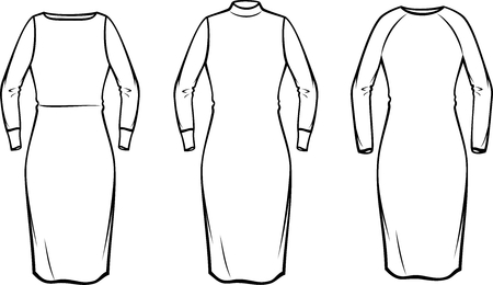 Vector illustration of womens knitted dress. Casual clothes Illustration